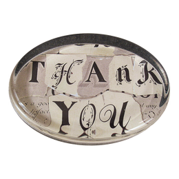 Thank you oval paperweight made by handmade decoupage