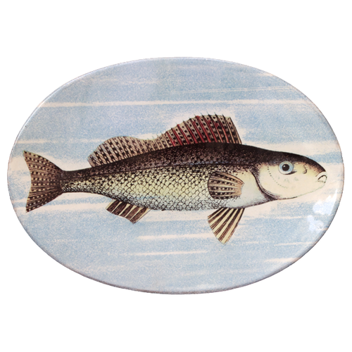Painted Fish F Oval Plate