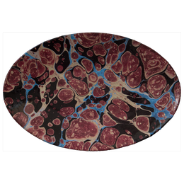 Black Blue & Red Marble Oval Platter