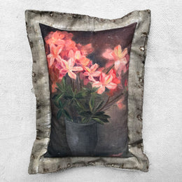 """Pink Floral"" Vintage Painting Pillow"