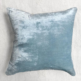 Plain Silk Velvet Cushion in Heavenly Blue