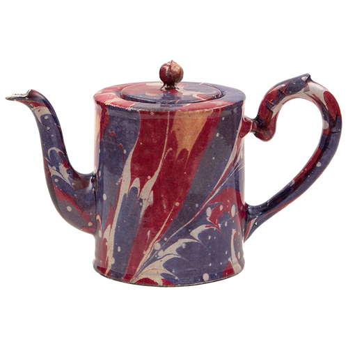 Red Blue and Yellow Marble Teapot