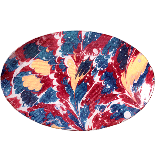 Red Blue & Yellow Marble Oval Platter
