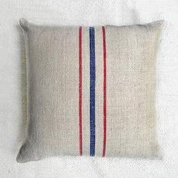 Antique Red and Blue Grainsack Pillow