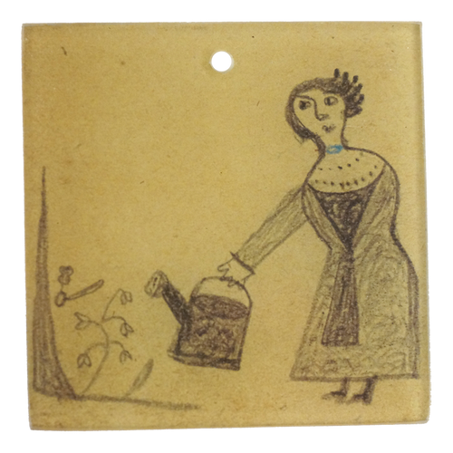 "Lady with Pail (3"" Sq.)"