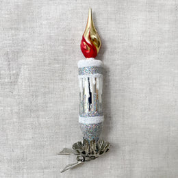Silver & White Candle Clip-on Ornament