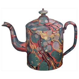 Green Yellow and Red Marble Teapot - Large
