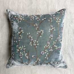 Tuileries Silk Velvet Cushion in Perfect Blue