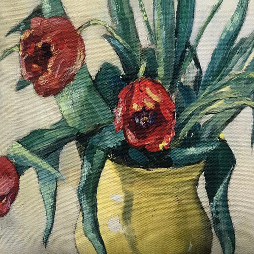 """3 Tulips"" Vintage Painting Pillow"