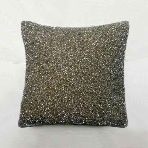 Luxus Silk Velvet Cushion in Platinum Gold & Silver
