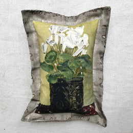 """White Floral "" Vintage Painting Pillow"