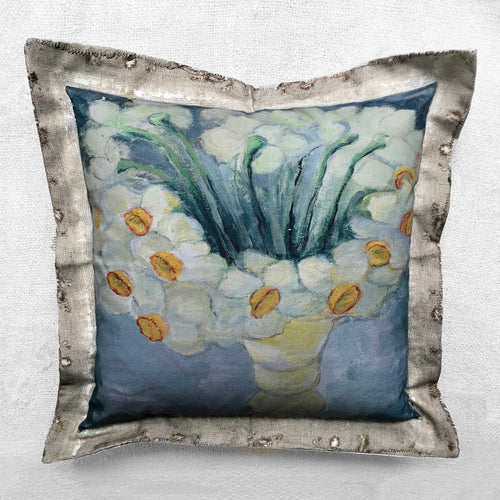 """Daffodils"" Vintage Painting Pillow"