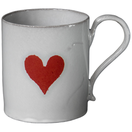Heart Mug Astier de Villatte added iconic imagery to their classic white tableware