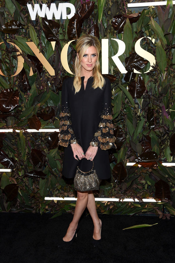 Nicky Hilton wears Renna Jewels by Renna Taher to the WWD Honors in NYC to honor Pierepaolo Piccioli as designer of the year for Valentino.