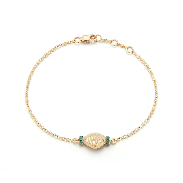 Thread and Shell Bracelet - Emerald