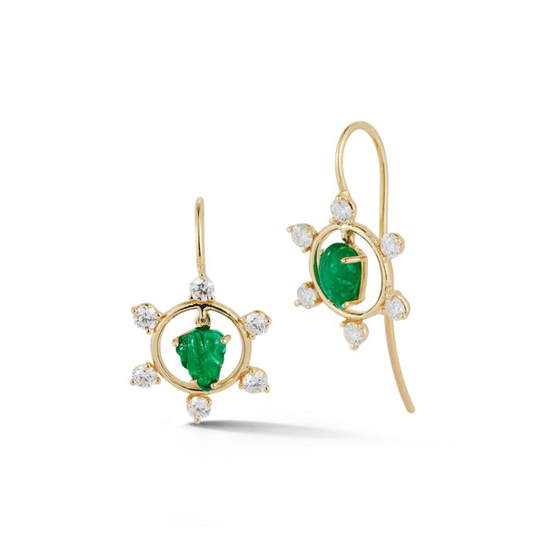 Emerald and Diamond Circle Frame Earrings