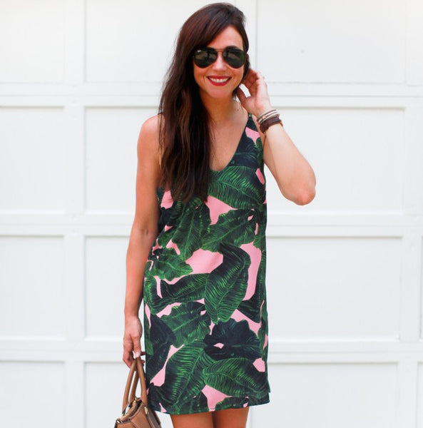 Catch The Summer's Tail with our Palm Leaf Print Dress!