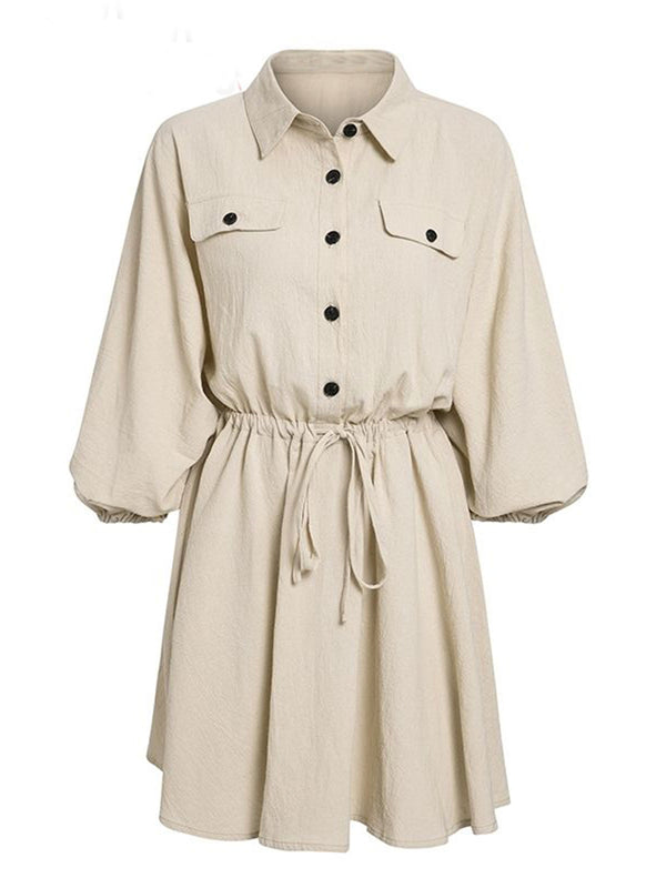 'Alex' Button Front Tied Mini Dress