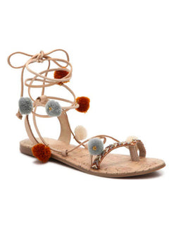 'Duff' Pom Pom Strappy Embellished Sandals (2 Colors)