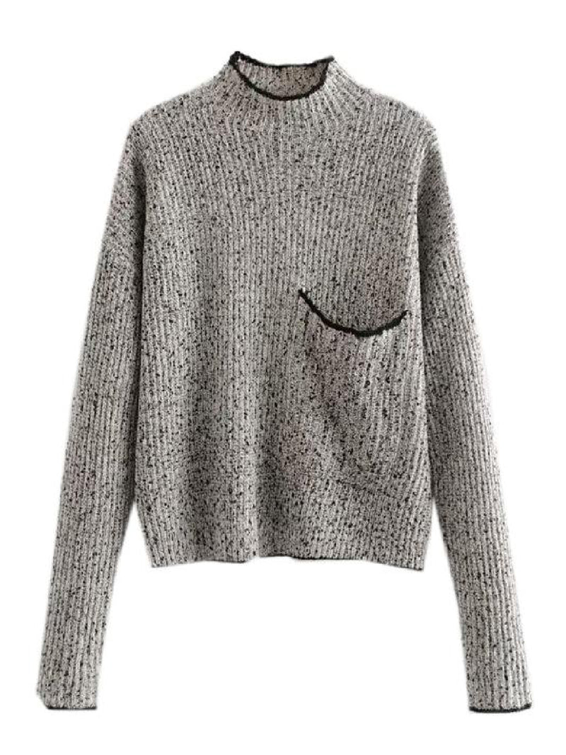 'Temi' Mock Neck Pocket Front Knitted Sweater