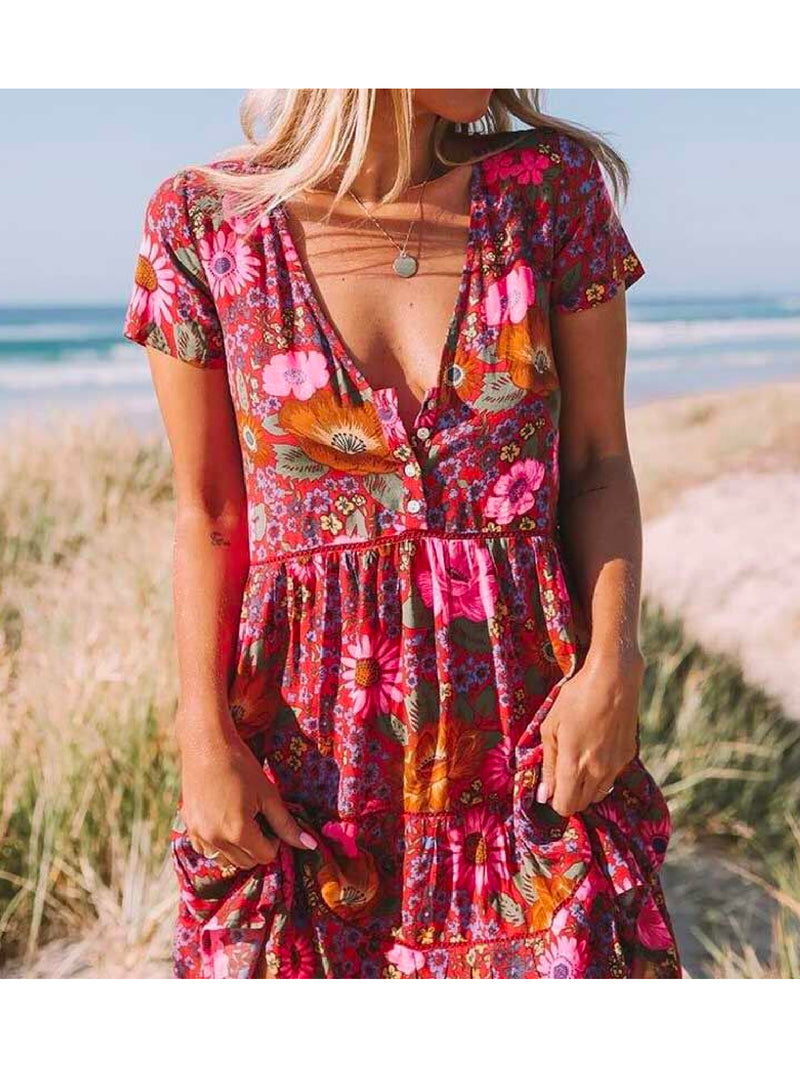 'Floris' V-Neck Floral Button Front Mini Dress
