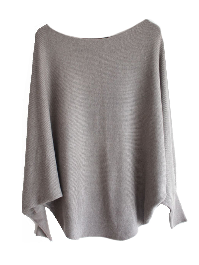 'Michelle' Boat Neck Batwing Dolman Sleeves Sweater (9 Colors)