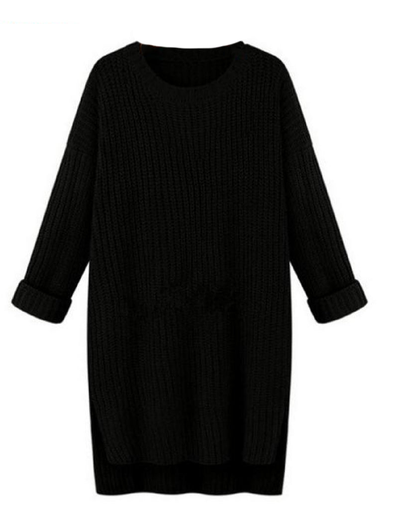 'Julie' Crewneck Knitted Long Sweater (4 Colors)