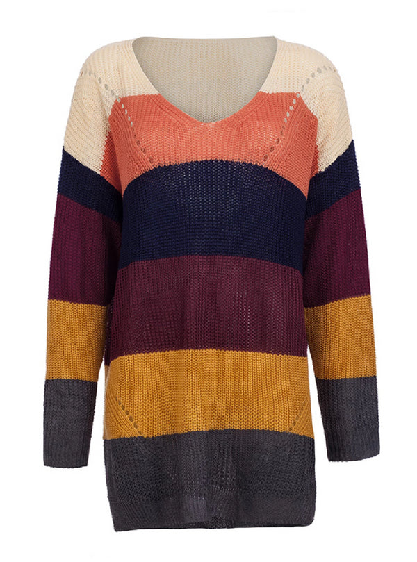 'Sydney' Color Block V Neck Long Sweater (3 Colors)
