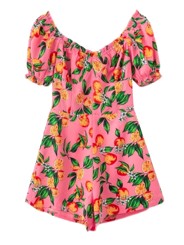 'Reagan' Orange Print Romper