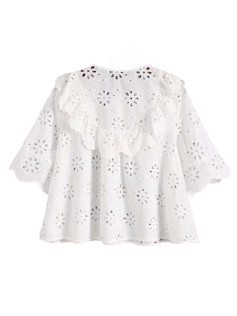 Goodnight Macaroon 'Dolley' Ruffle Bib Petal Broderie Anglaise Top Back