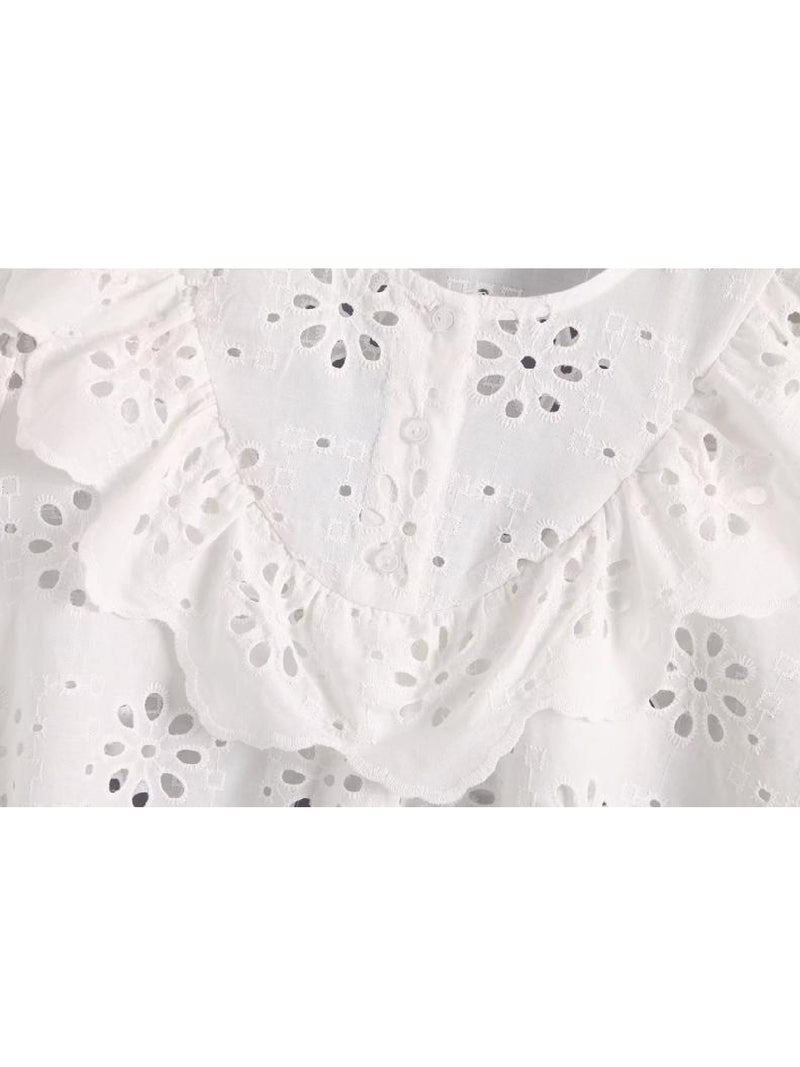 Goodnight Macaroon 'Dolley' Ruffle Bib Petal Broderie Anglaise Top Bib