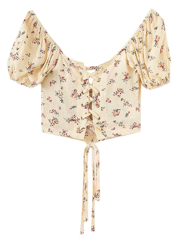'Vanya' Floral Tied Back Cropped Top