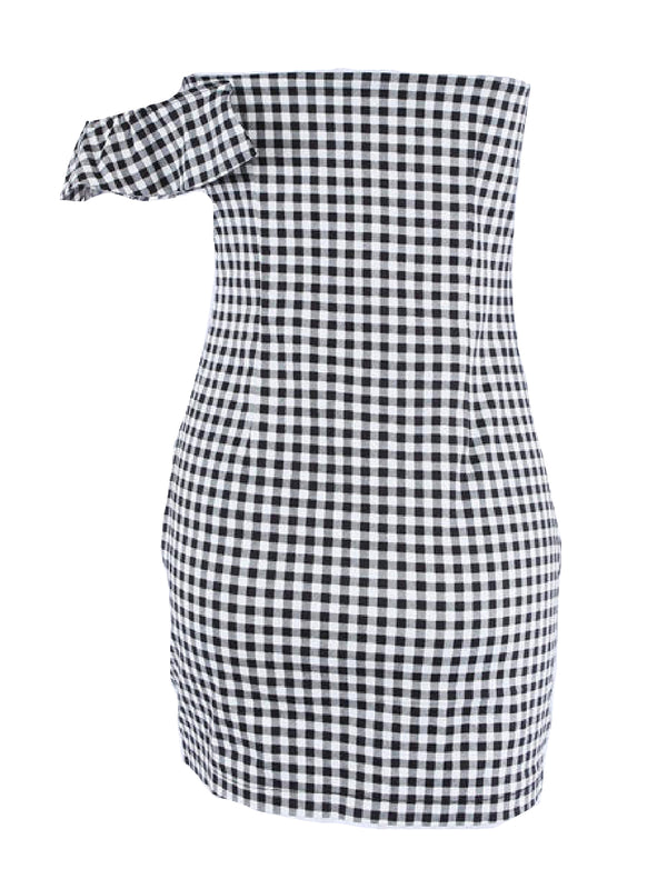 'Banks' Checked Off The Shoulder Ruffled Mini Dress