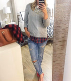 Cream White Side Slit Crewneck Red Plaid Sweater