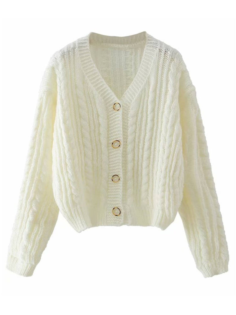 'Kaia' Button Down Cable Knit Cardigan (3 Colors)