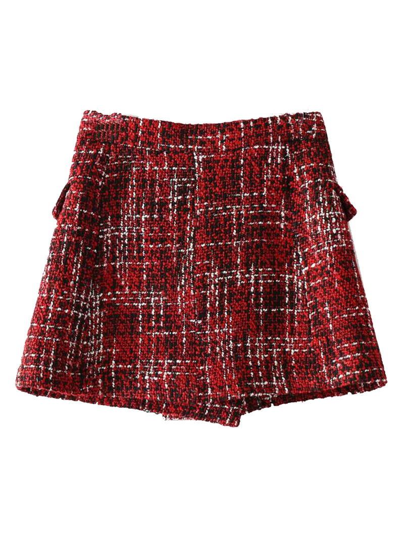 'Leah' Tweed Button Front Skort