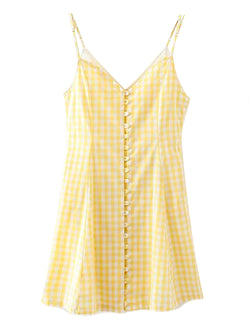 'Julia' Checked Button Front Mini Dress