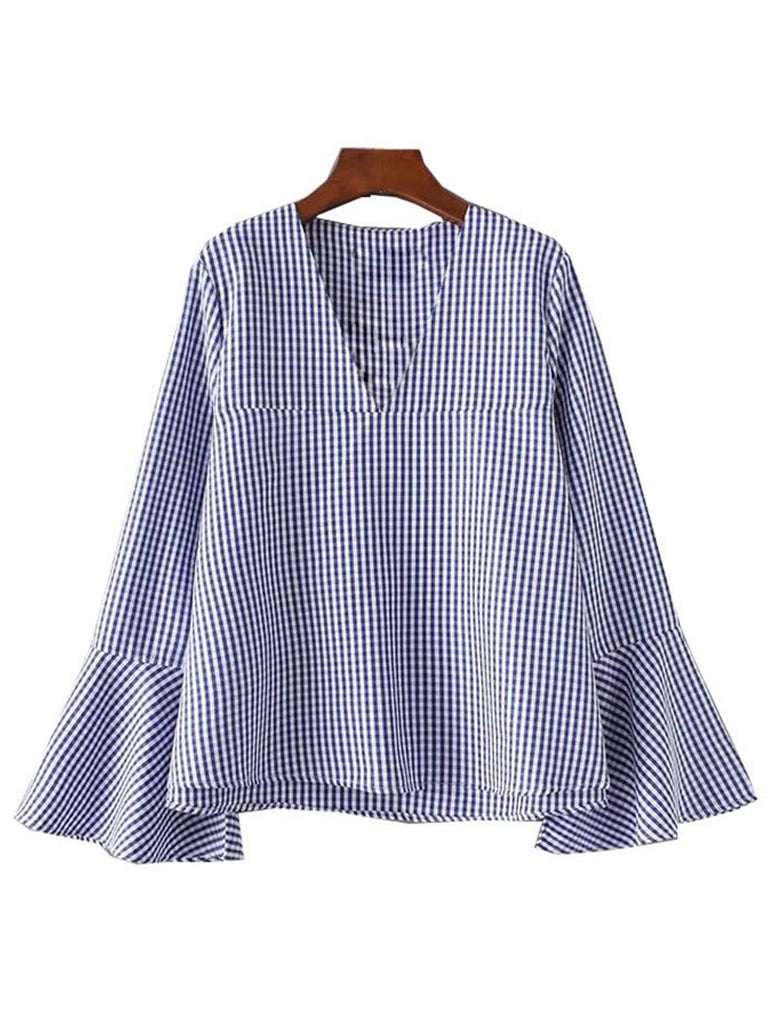 'Linda' Blue Checked V-Neck Flare Sleeve Top