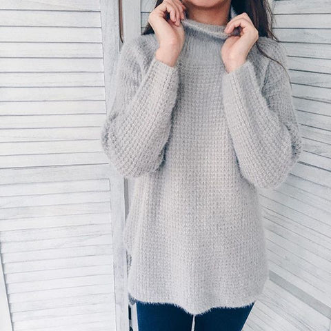 'Christina' Gray High Neck Fuzzy Sweater