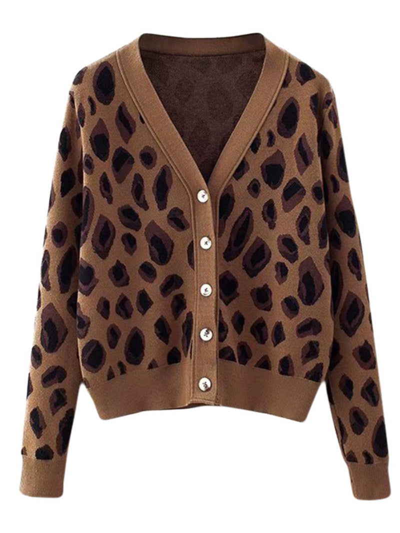 'Reese' Leopard Print Button Down Cardigan