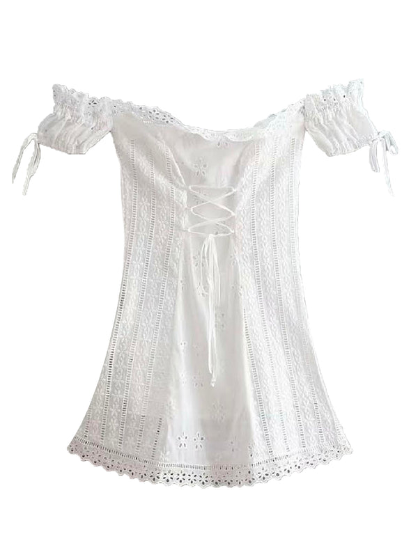 'Claire' Broderie Anglaise Off The Shoulder Mini Dress
