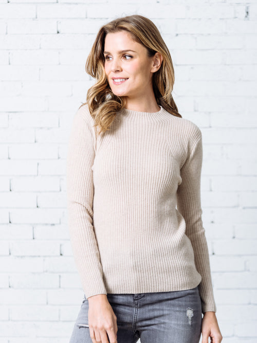 'Lauren' Cream White Ribbed Knit Fitted Cashmere Sweater