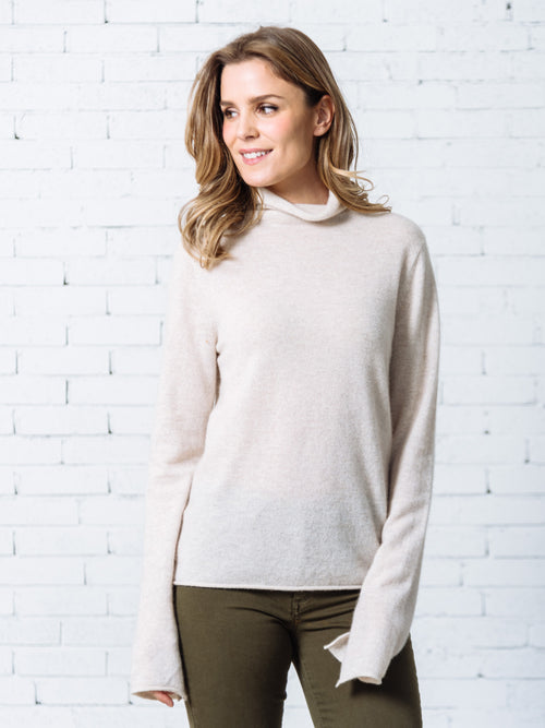 'Pansy' High-neck Cashmere Sweater