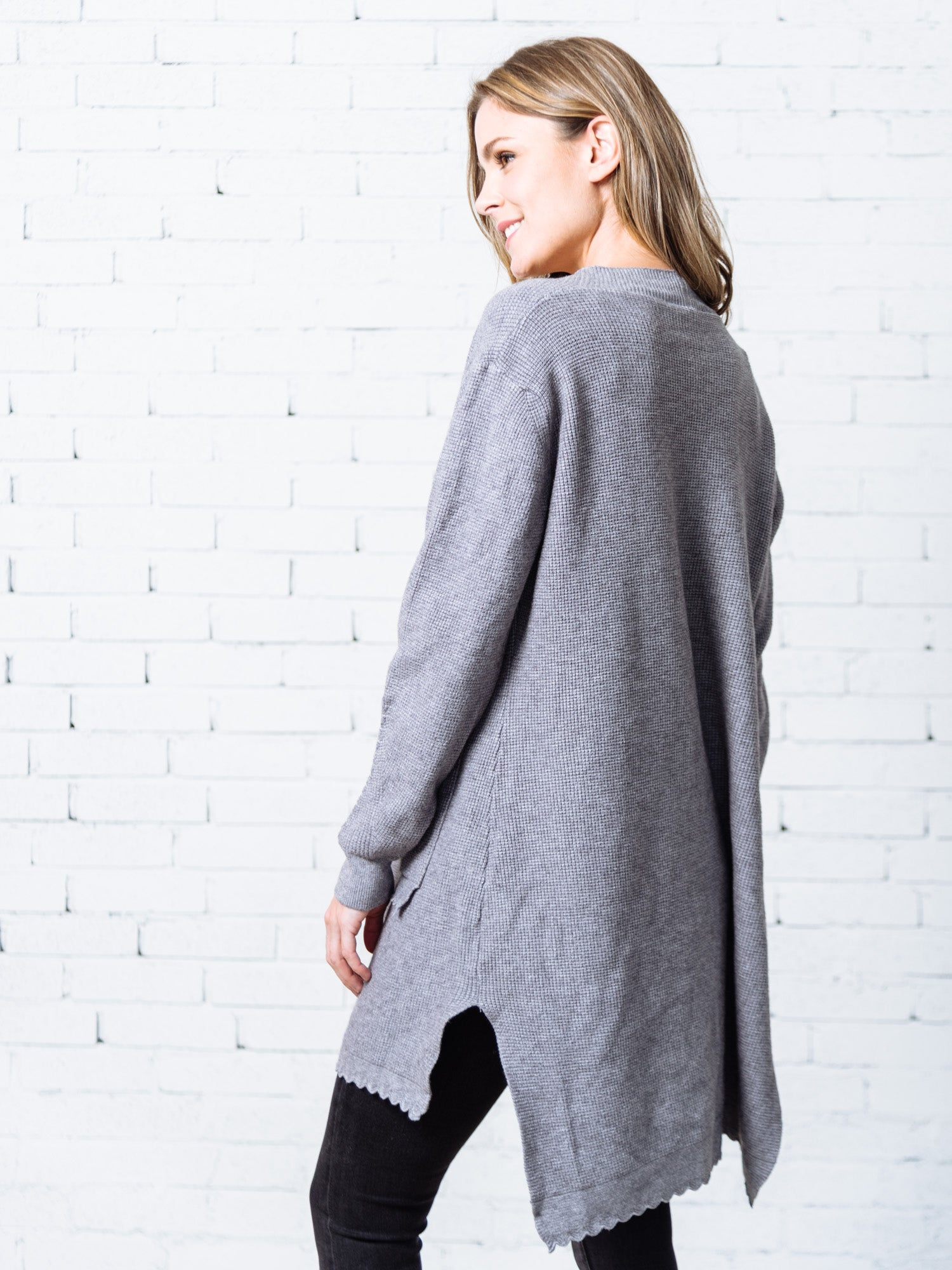 'Ivey' Scalloped Hem and Pocket Open Cardigan ( 4 Colors )
