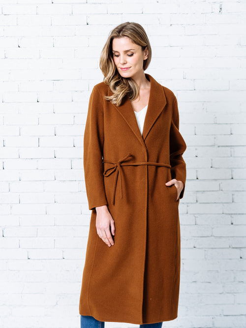 'Leah' Hidden Button Tied Cashmere Coat