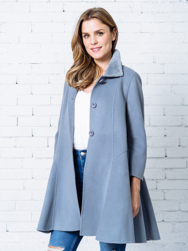 'Viola' Fluffy Collar Flare Coat