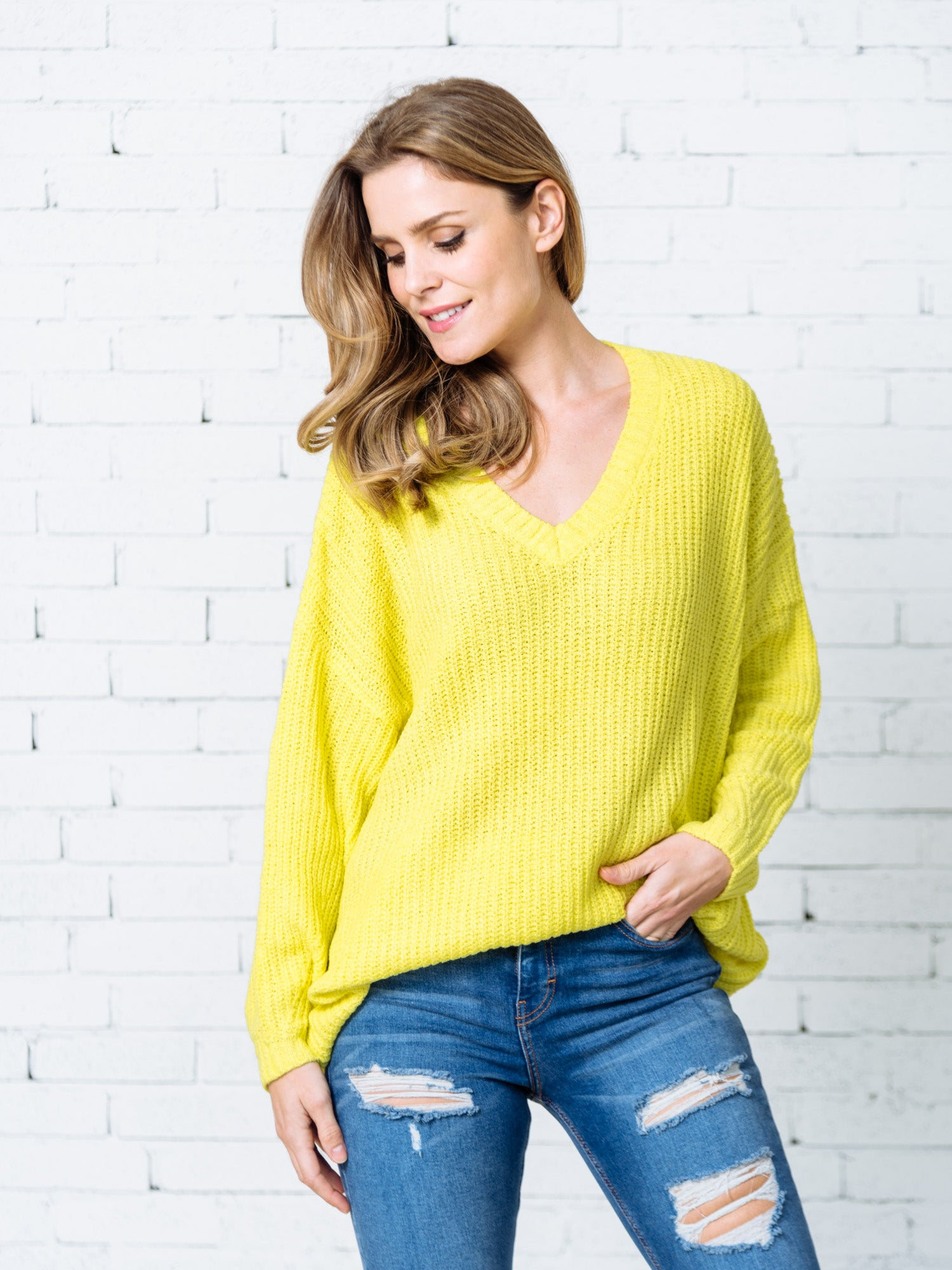 Yellow V Neck Sweater 66