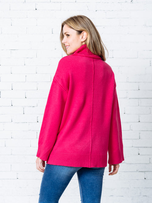 'Tyesha' Fuchsia Turtleneck Sweater
