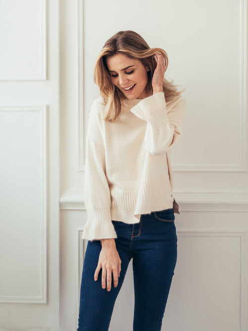 'Sabrina' White Bell Sleeved Fuzzy Sweater