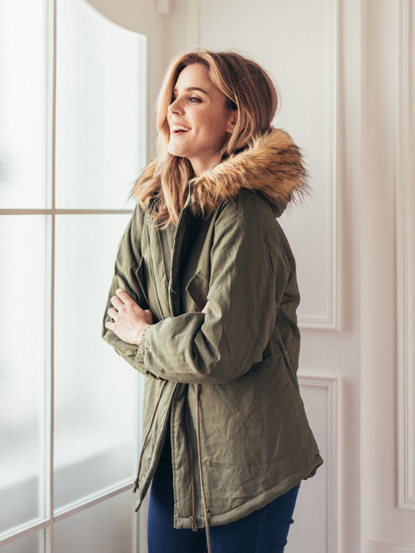 'Nana' Faux Fur Hooded Military Jacket